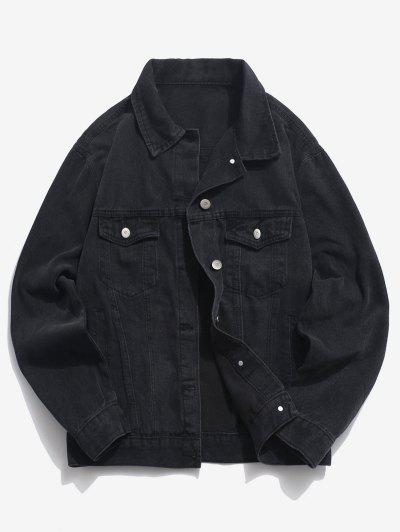 Pockets Button Up Denim Jacket - Black 4xl