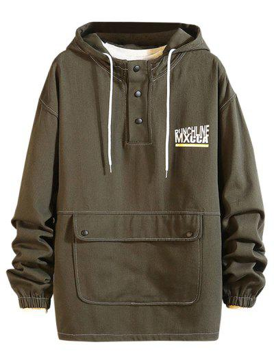 Pouch Pocket Drop Shoulder Pullover Hooded Jacket - Camouflage Green Xl