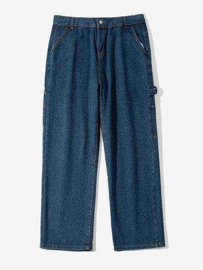 Letter Applique Straight Leg Carpenter Jeans - Lapis Blue Xs