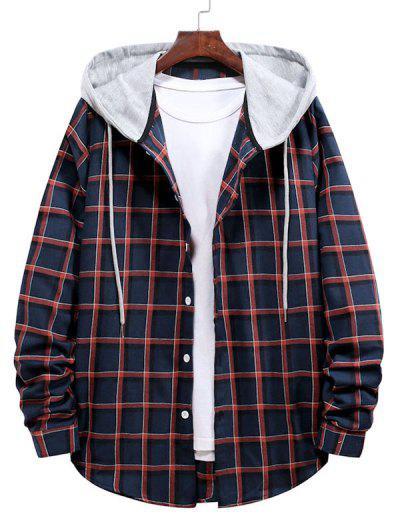 Long Sleeve Plaid Pattern Hooded Shirt - Lava Red L
