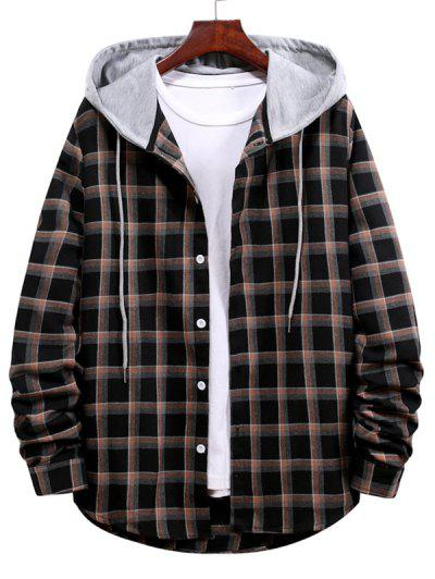 Long Sleeve Plaid Pattern Hooded Shirt - Black M