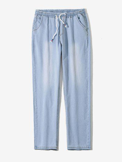 Drawstring Light Wash Tapered Jeans - Blue Gray L