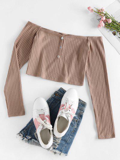ZAFUL Ribbed Off Shoulder Mock Button Knitwear - Coffee M