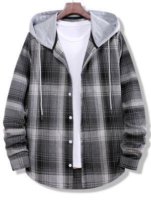 zaful Colorblock Striped Plaid Pattern Button Up Shirt