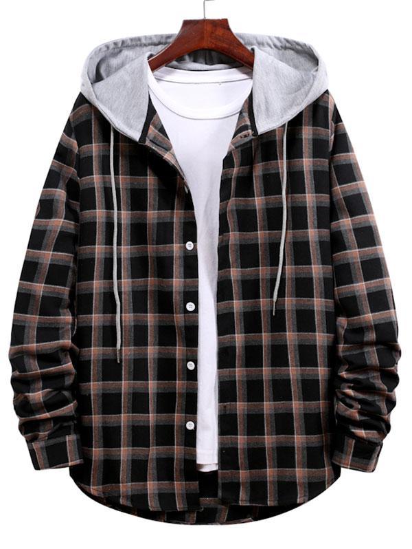 Long Sleeve Plaid Pattern Hooded Shirt