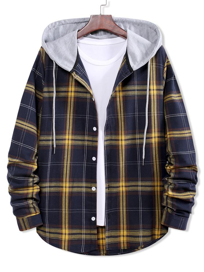 Colorblock Plaid Print Hooded Button Up Shirt