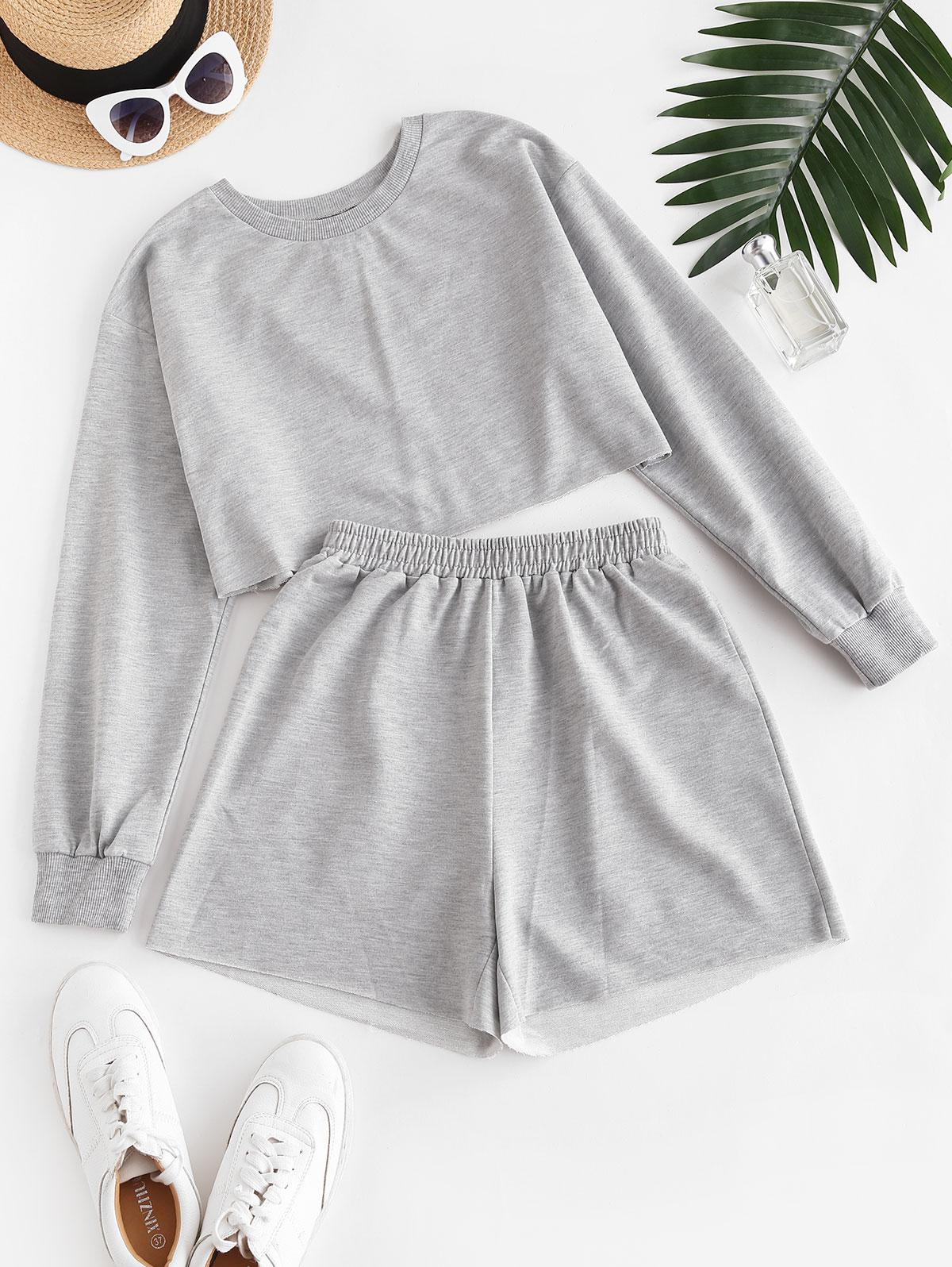 ZAFUL French Terry Raw Cut Two Piece Shorts Set