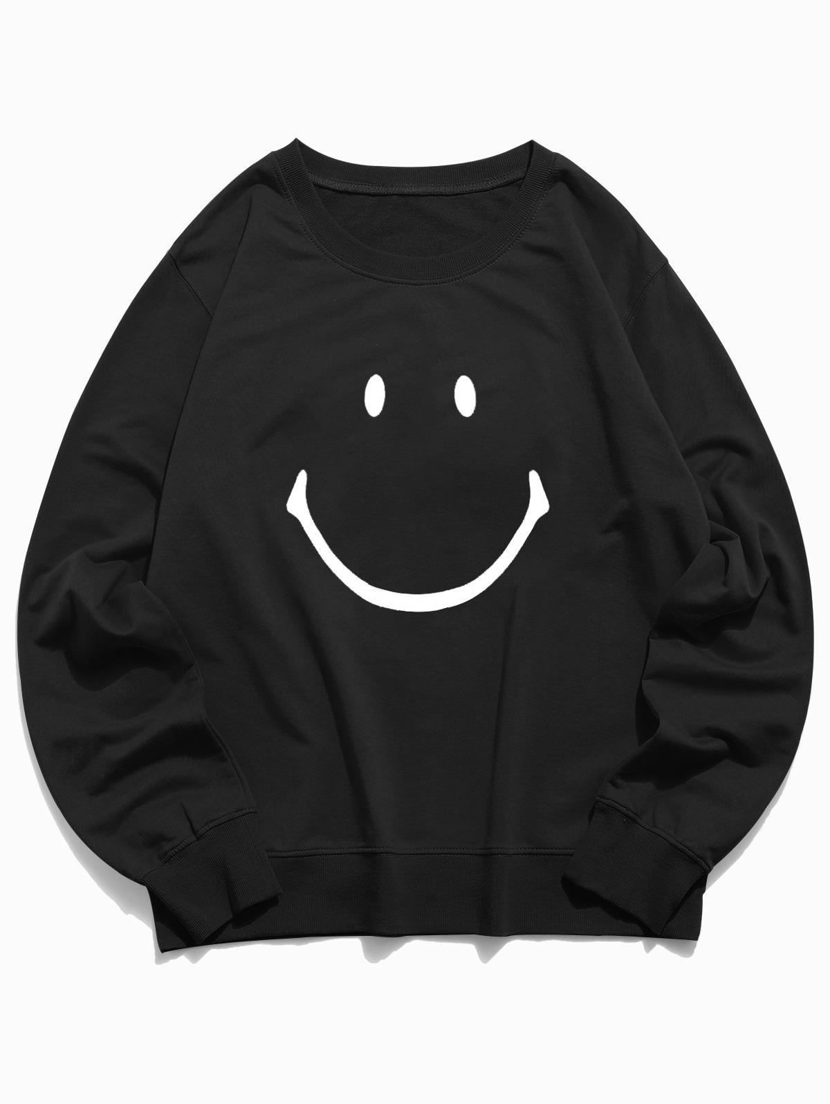 Lounge Smiley Face Graphic Crew Neck Sweatshirt, Black