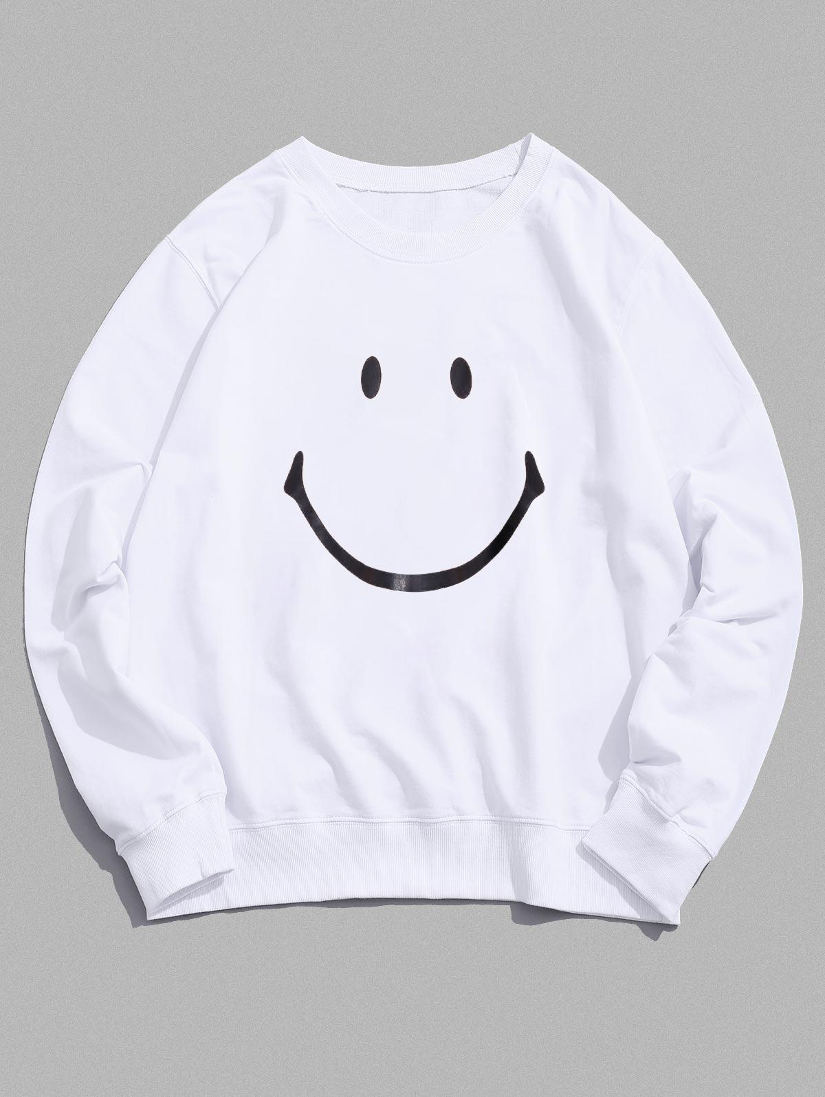 Lounge Smiley Face Graphic Crew Neck Sweatshirt, White