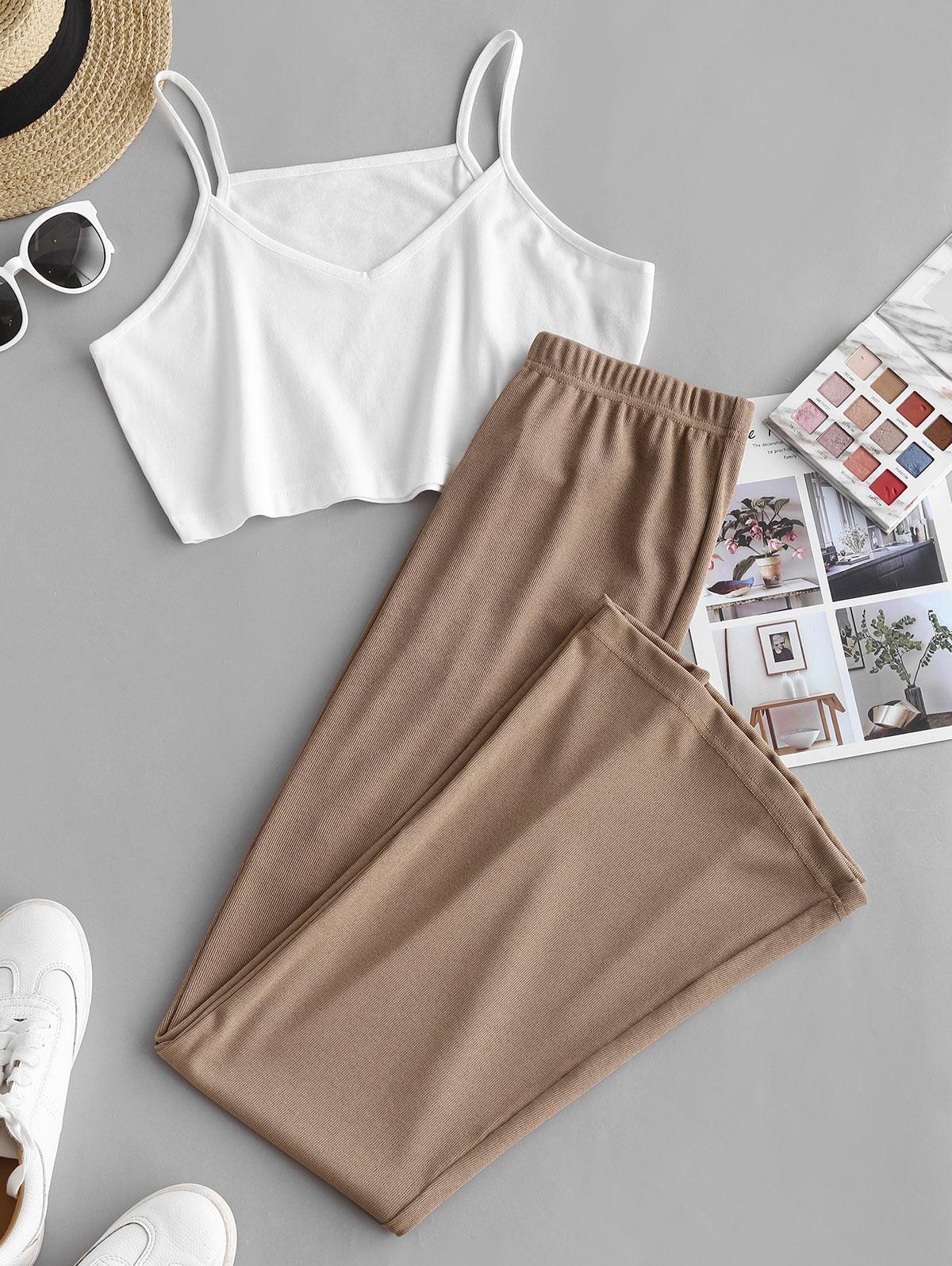 Colorblock Jersey Straight Pants Set