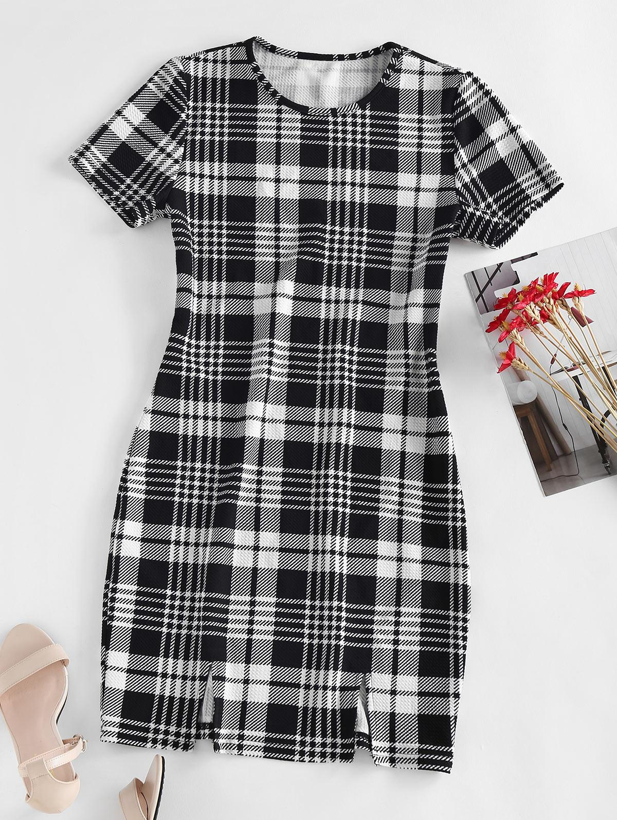 ZAFUL Plaid Textured Bodycon Slit Dress