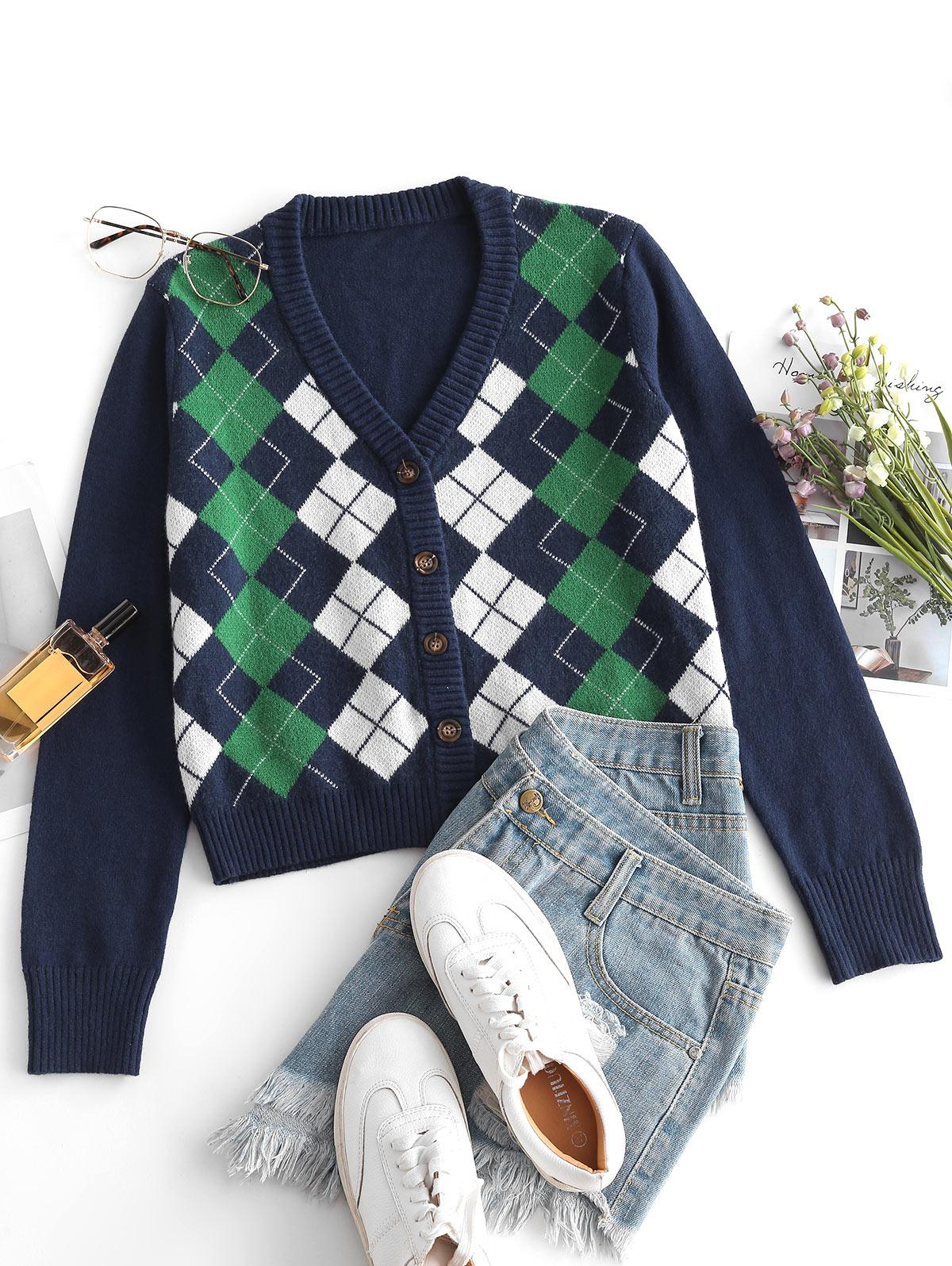 Argyle V Neck Button Up Cardigan