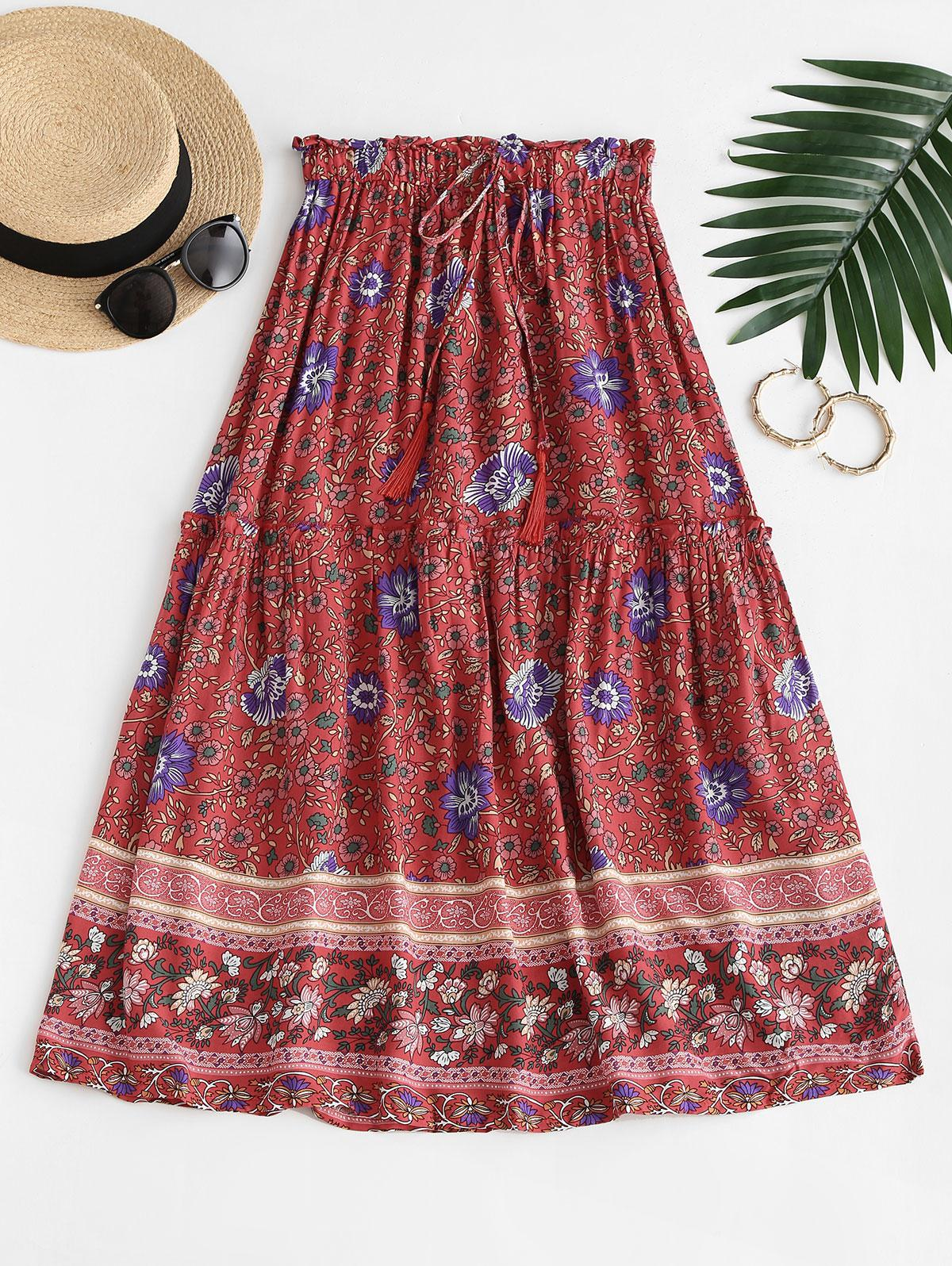 Floral Frilled Midi Tiered Skirt