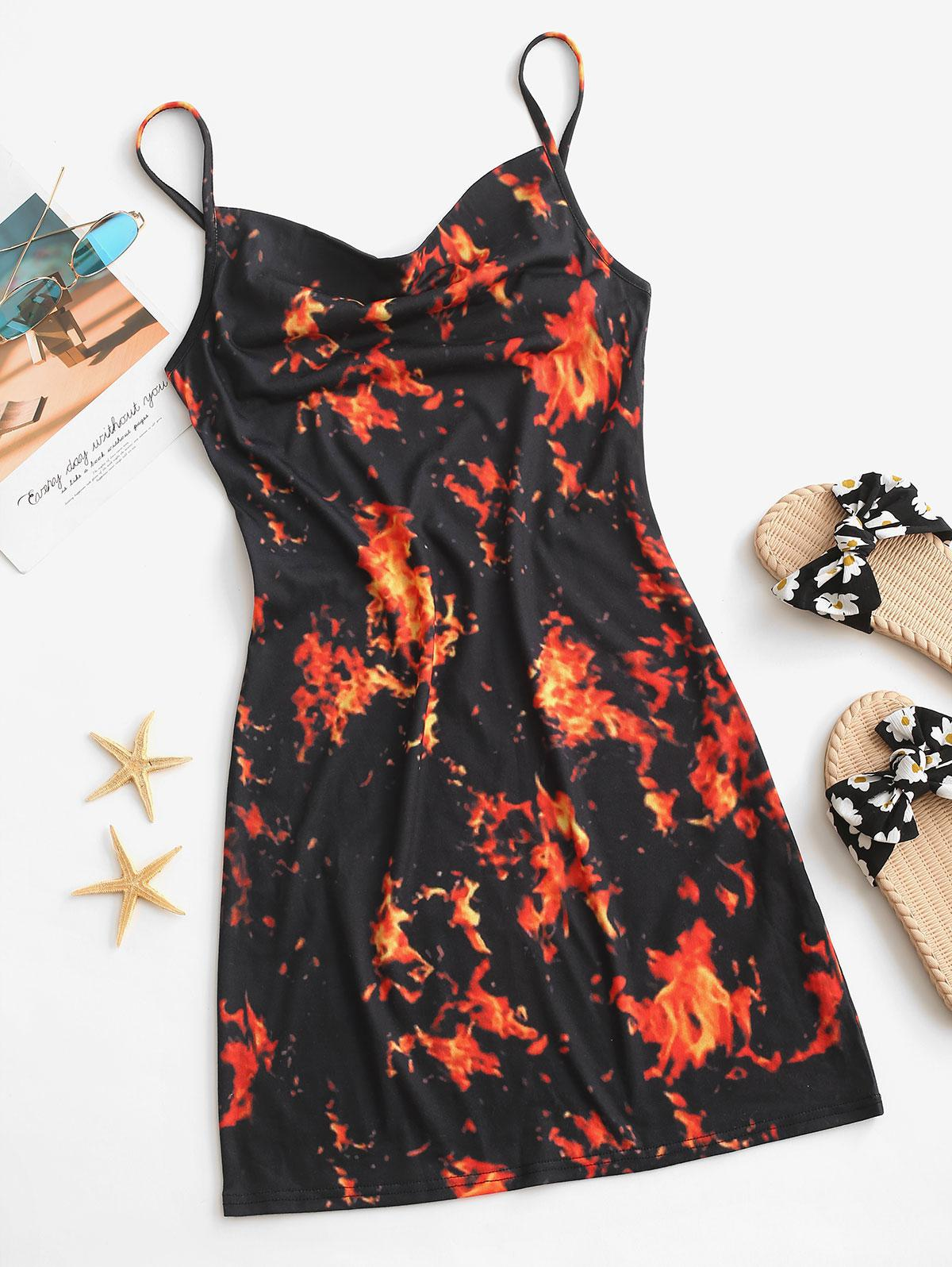 Flame Print Cowl Front Bodycon Cami Dress