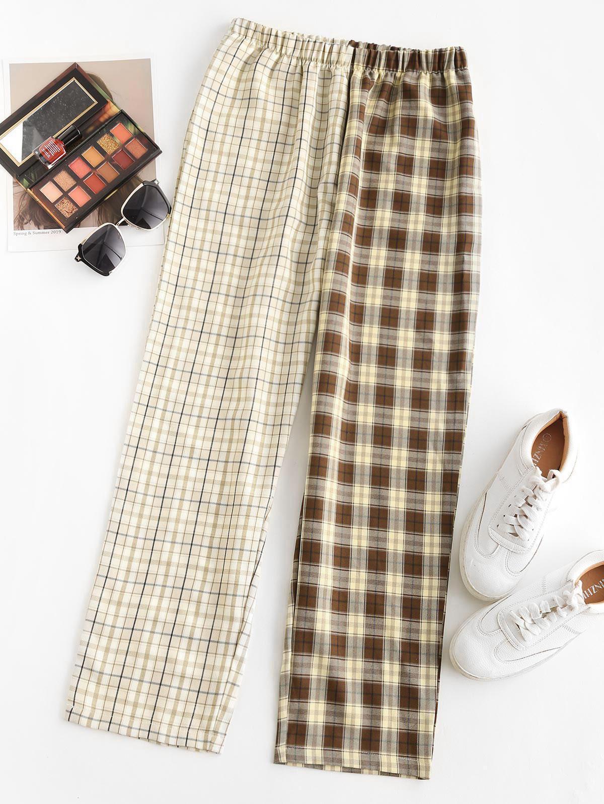 Contrast Plaid Straight Pants
