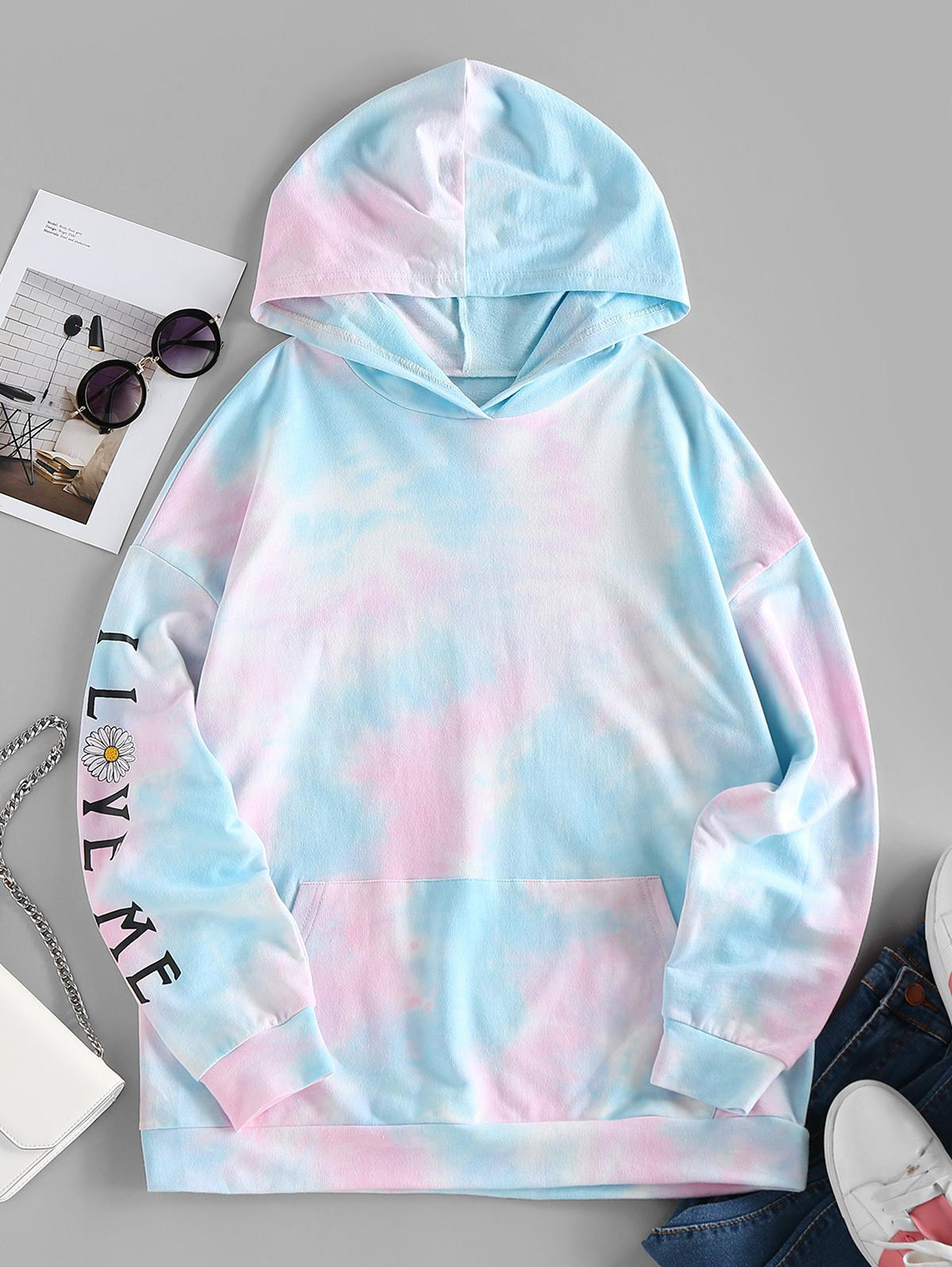 ZAFUL Tie Dye Daisy Drop Shoulder Pocket Hoodie