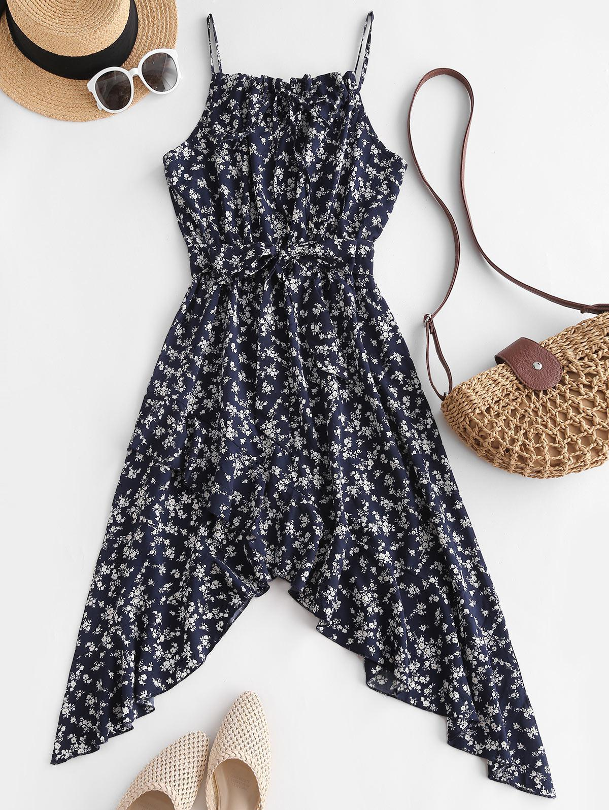 Ditsy Floral Print Tie Ruffle Asymetrical Sundress