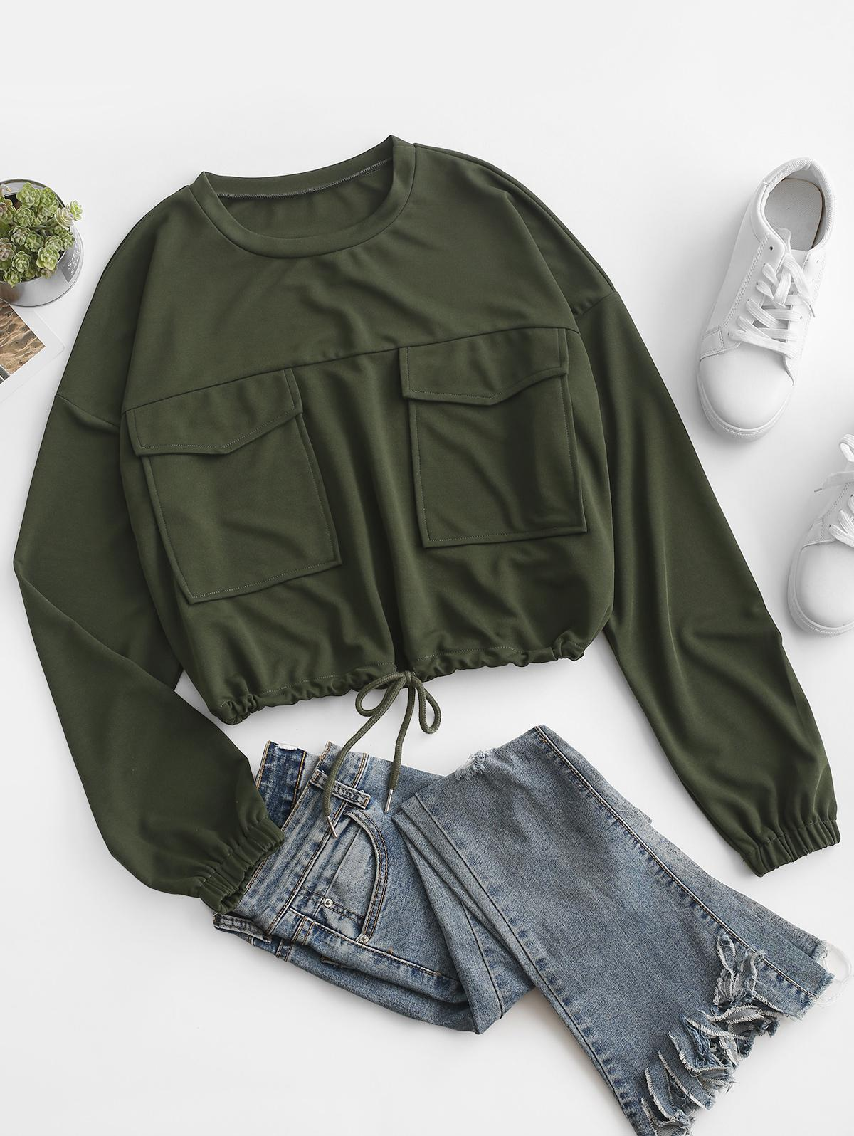 Loose Pockets Drawstring Cargo Sweatshirt