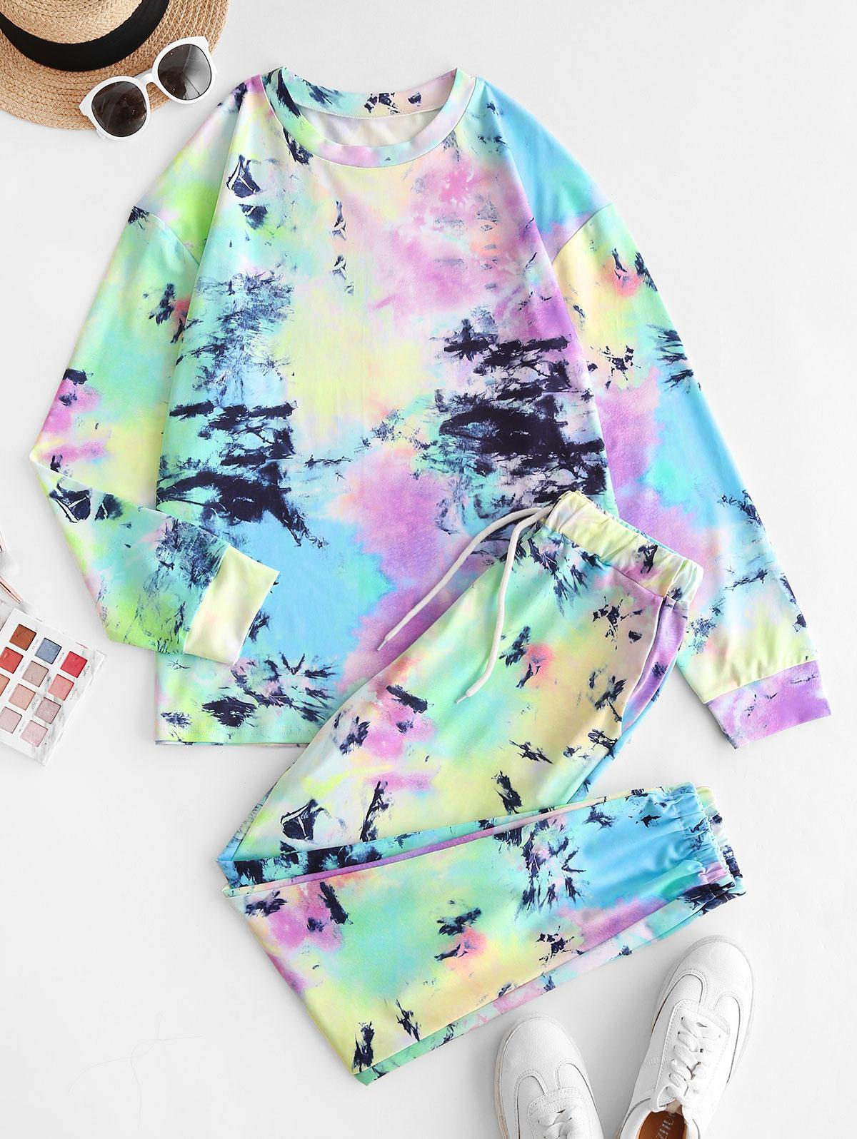 Tie Dye Drop Shoulder Pocket Pants Set