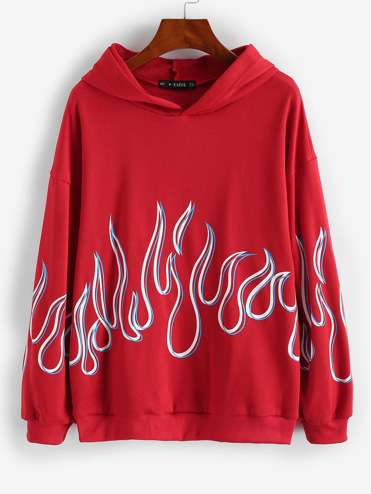 French Terry Flame Print Drop Shoulder Hoodie