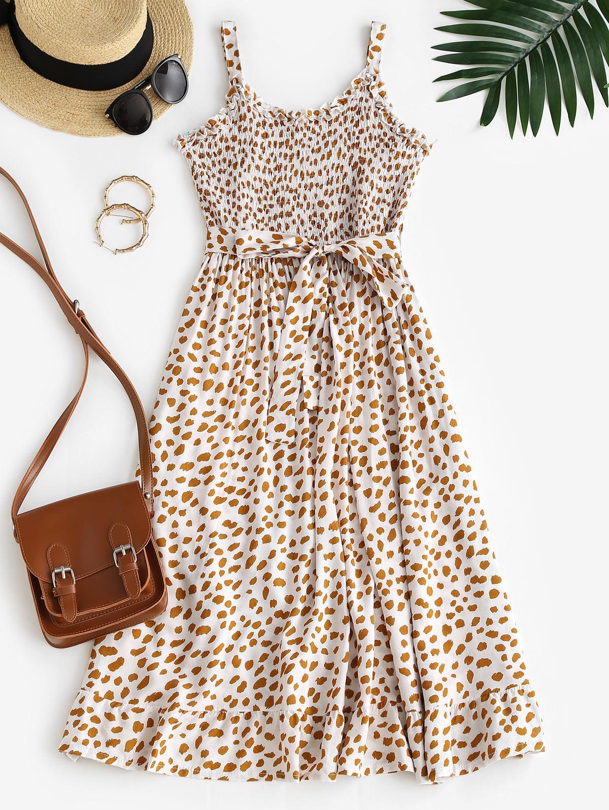 Printed Frilled Smocked Belted Dress