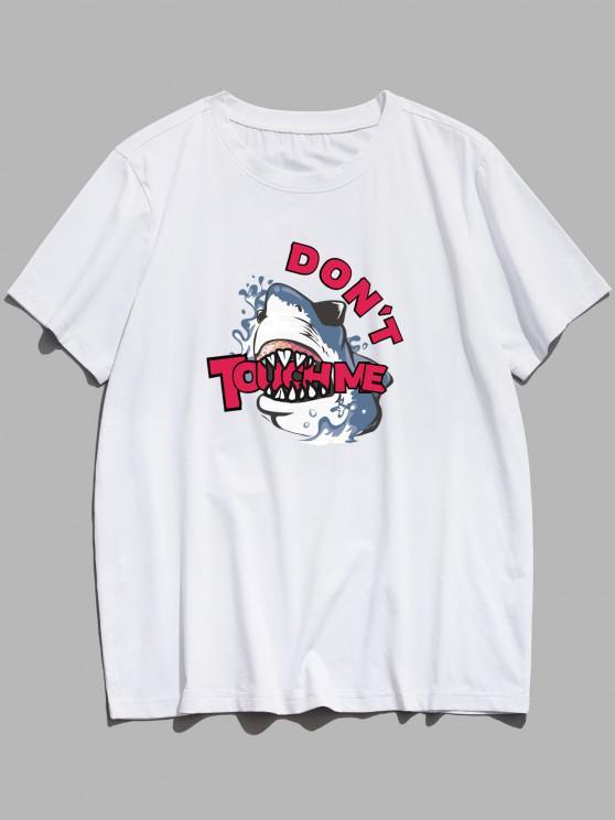 Shark Don't Touch Me Print Basic T Shirt - أبيض M
