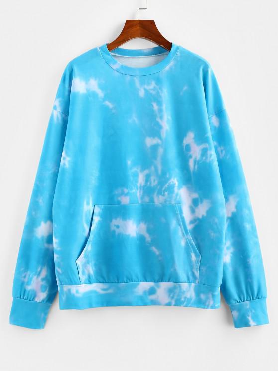 ZAFUL Tie Dye Kangaroo Pocket Drop Shoulder Sweatshirt - أزرق فاتح M