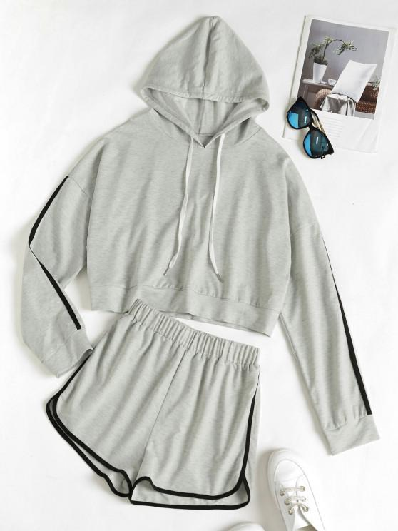Hooded Drop Shoulder Contrast Tape Dolphin Shorts Set - رمادي فاتح S