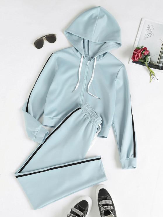 Conjunto De Calças Curto Listrado Com Calças - Azul claro XL