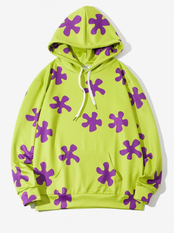 Flower Print Pouch Pocket Drawstring Casual Hoodie - أخضر أصفر M