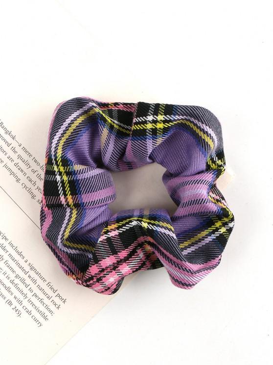Plaid Printed Fabric Scrunchie - أرجواني