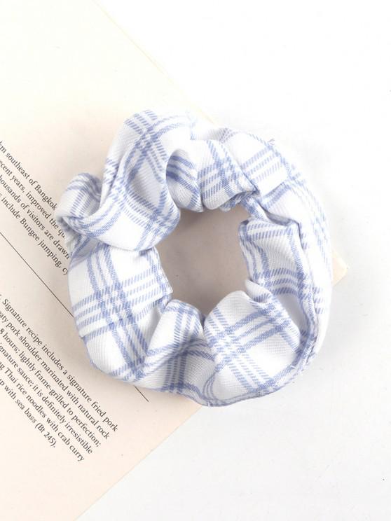chic Plaid Printed Fabric Scrunchie - WHITE