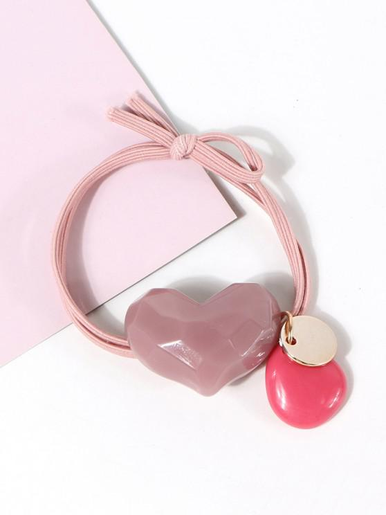 Heart Shape Pendant Hair Tie - وردي فاتح