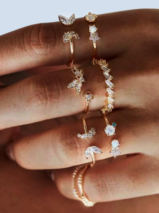 women 7Pcs Butterfly Floral Rhinestone Ring Set - GOLDEN