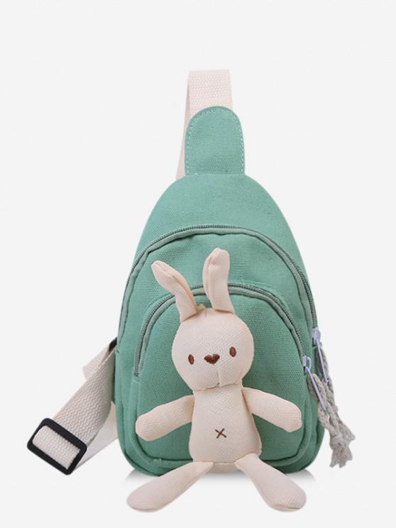 latest Cute Rabbit Canvas Chest Bag - LIGHT GREEN