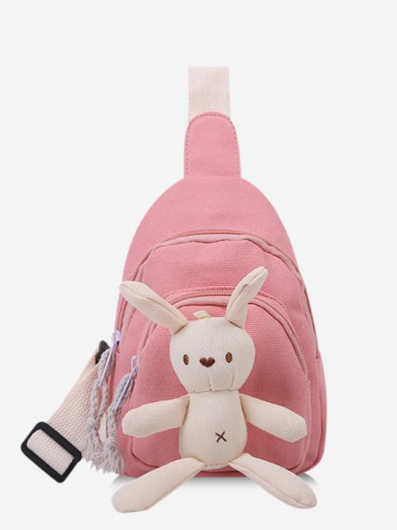 trendy Cute Rabbit Canvas Chest Bag - LIGHT PINK