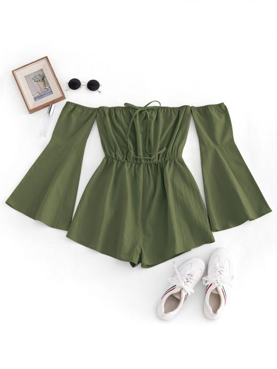 best ZAFUL Flare Sleeve Off Shoulder Wide Leg Romper - LIGHT GREEN M