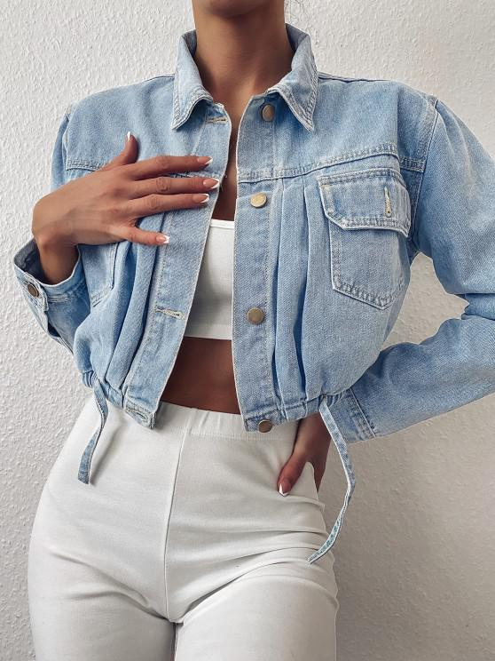 best Cropped Drawstring Hem Denim Jacket - LIGHT BLUE M