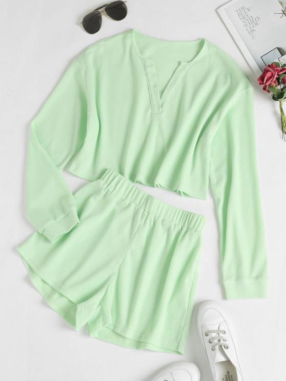 womens V Notch Drop Shoulder Knitted Shorts Set - LIGHT GREEN XL