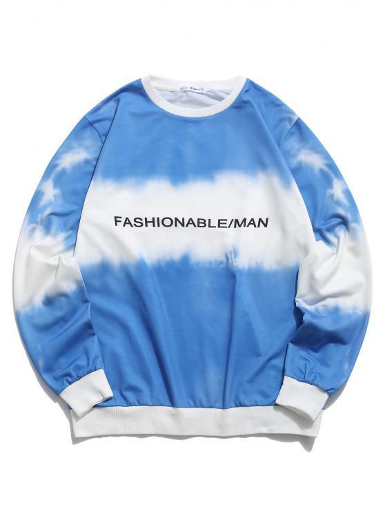 womens ZAFUL Tie Dye Letter Print Sweatshirt - BLUE S
