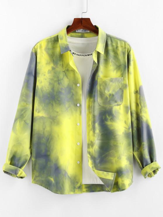 affordable ZAFUL Tie Dye Print Long Sleeve Pocket Shirt - YELLOW L