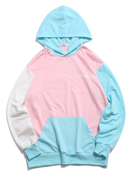 affordable Color Blocking Panel Letter Print Hoodie - MULTI S