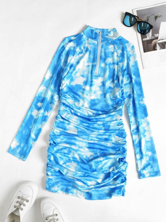 Zip Placket Tie Dye Ruched Bodycon Dress - ديب سكاي بلو S