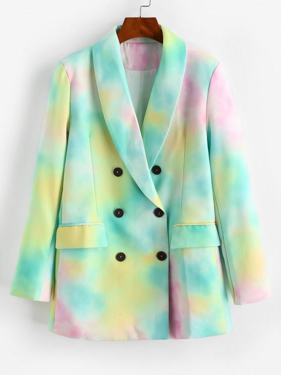Tie Dye Pocket Double Breasted Blazer - اخضر فاتح S