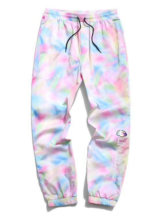 ZAFUL Tie Dye Rainbow Letter Print Pants - وردي فاتح XL