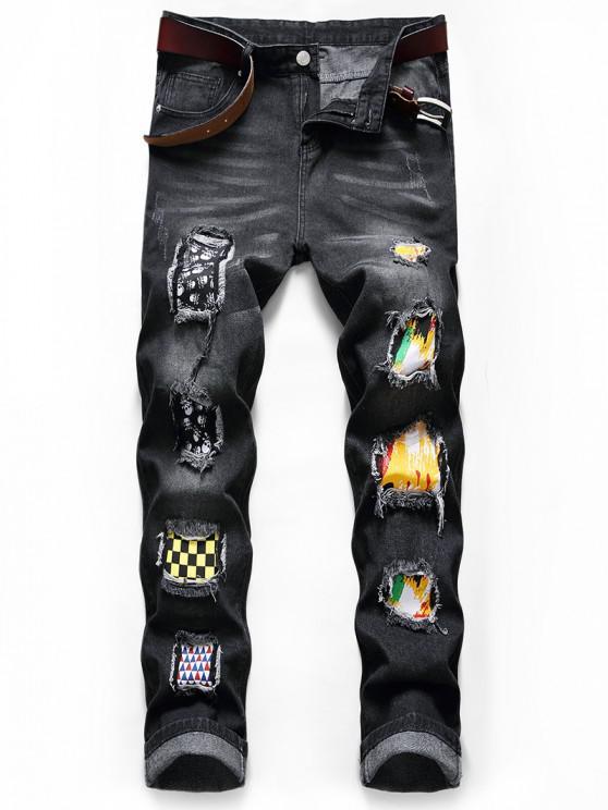 Skull Paint Patchwork Scratch Long Jeans - أسود 38
