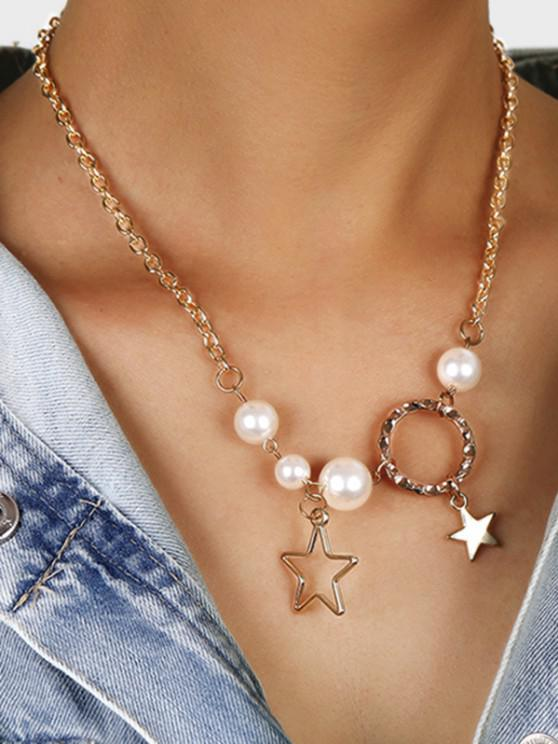 Faux Pearl Star Circle Necklace - ذهبي