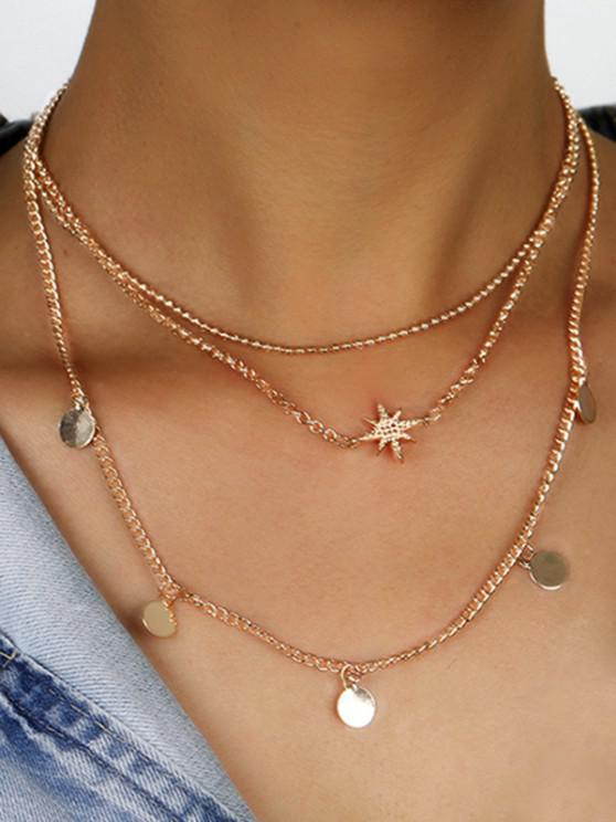 fancy Star Disc Pattern Layered Necklace - GOLDEN