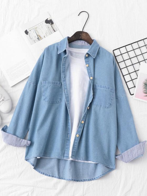 trendy Pocket Drop Shoulder Striped Cuff Denim Jacket - LIGHT BLUE S