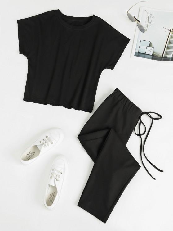 Conjunto de Calças e Camiseta de Cintura com Laço na Cintura - Preto L